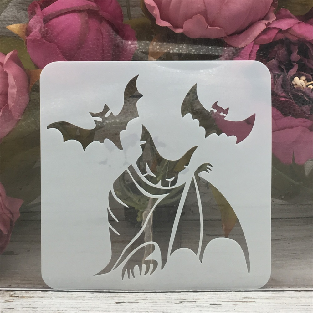 13*13cm Magic Bat Evil Halloween DIY Layering Stencils Painting Scrapbook Coloring Embossing Album Decorative Template