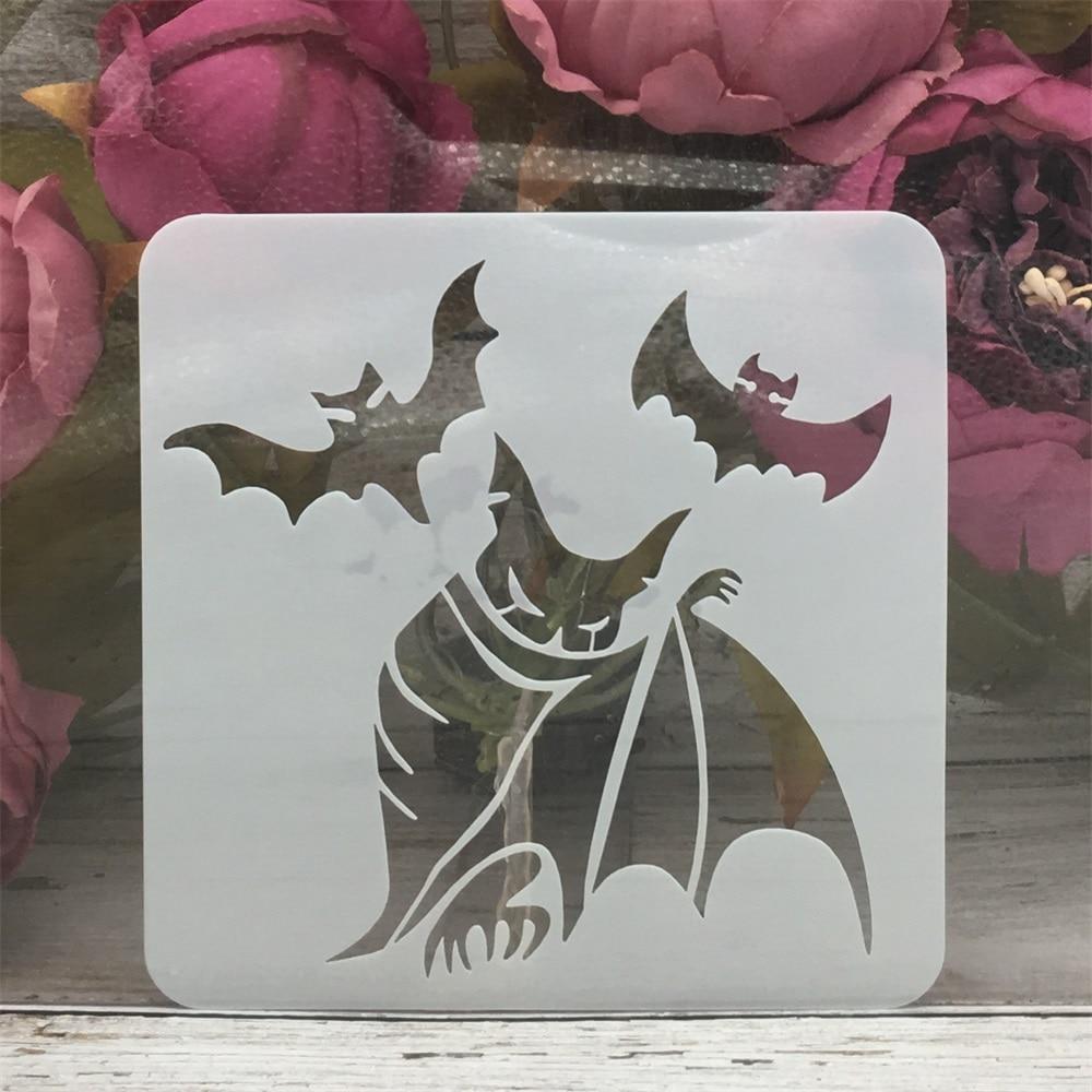 13*13cm Magic Bat Evil Halloween DIY Layering Stencils Painting Scrapbook Coloring Embossing Album Decorative Template