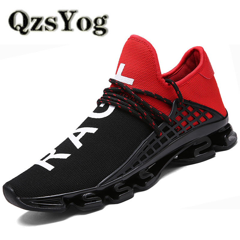 QzsYog Running Shoes Men Air Mesh Breathable Sports Jogging Athletic Women Red Trainers Walking Shoes Cushion Sneakers Lovers