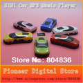 Free shipping hot sale 50 pcs/lot cheapest mini car style mp3 music player sport mp3 player support  Micro SD/TF card 6 colors