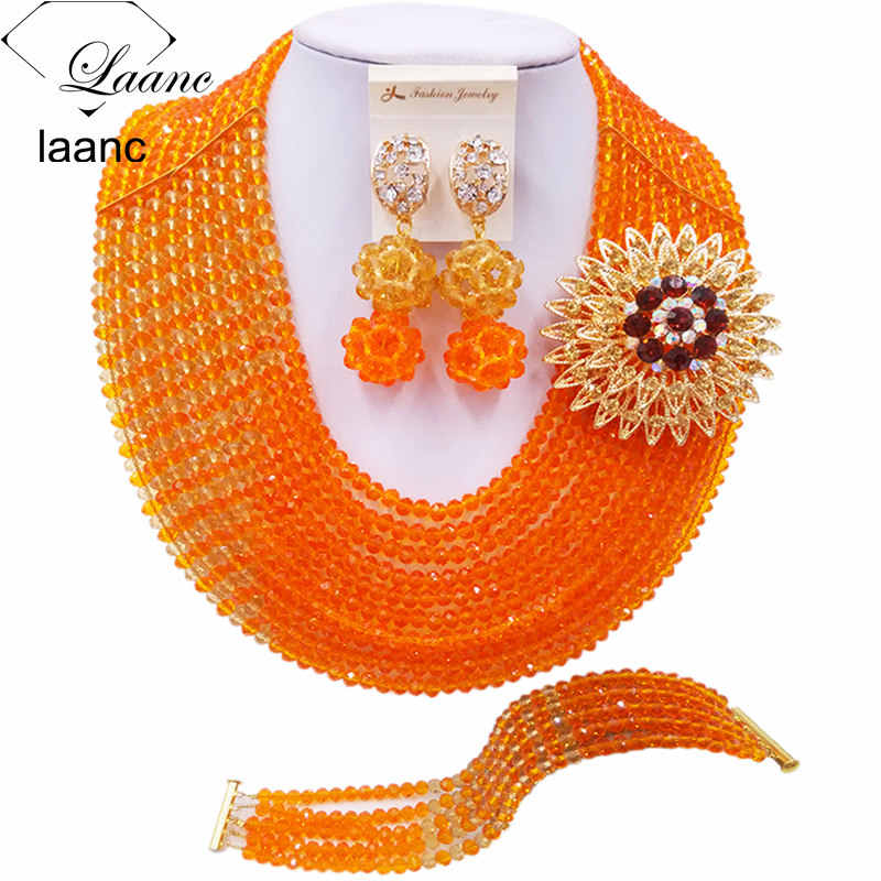 Laanc Fashion Orange and Champagne Gold African Beads Jewelry Set Nigerian Beaded Necklace Wedding Jewelry Sets C10JK027