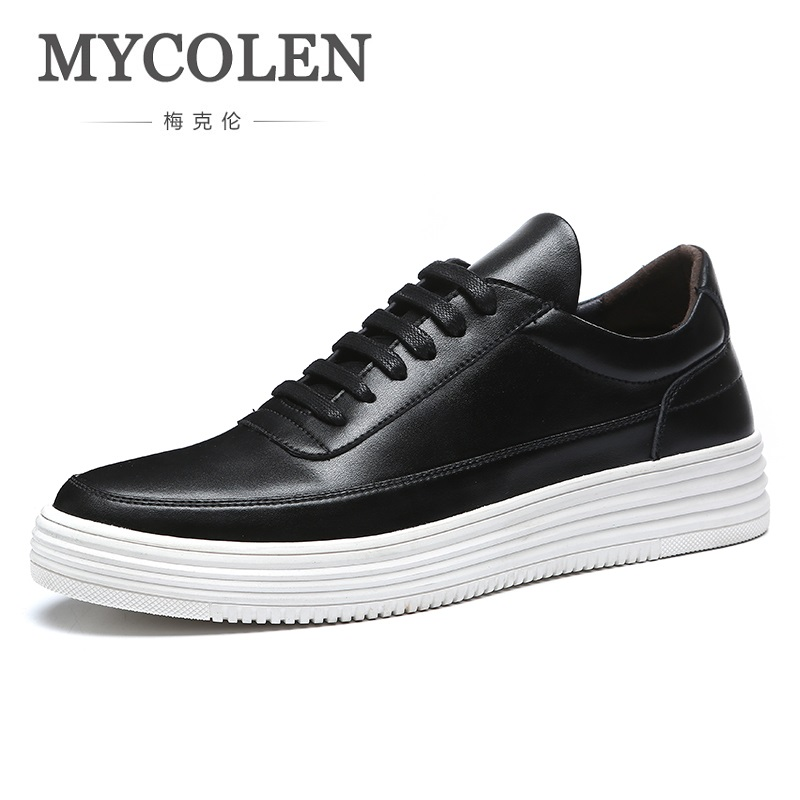 MYCOLEN Spring/ Autumn Men Fashion Shoe Mens Comfortable Outdoor Casual Shoes Lace-Up Height Increasing White Sneakers spring autumn casual men s shoes fashion breathable white shoes men flat youth trendy sneakers
