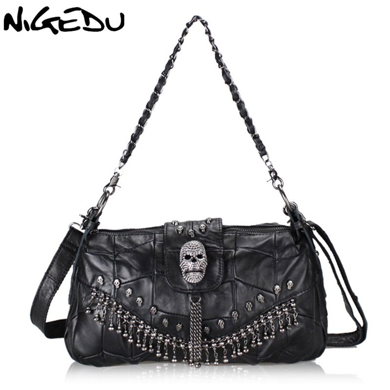 NIGEDU Punk skull handbag Genuine Leather Women messenger Crossbody bags fashion Chain tassel female Shoulder bag bolsa Totes