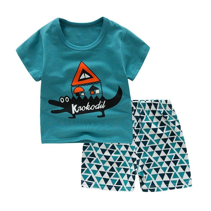 SAILEROAD Summer Pajamas Set Baby Cartoon Crocodile Pyjamas Pijama Infantil Boys Sleepwear Infant Homewear Suit Kids Pajamas
