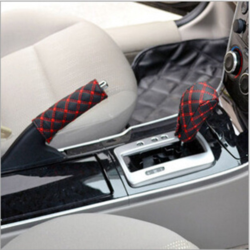 2 Piece Set Car Hand Brake Cover Gear Cover Shift Cover Manual Automatic Transmission Universal