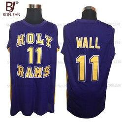 Cheap John Wall #11 Holy Rams High School Jersey Purple New Sewn Shirt Any Size Throwback Basketball Jersey