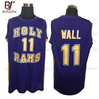 Cheap John Wall 11 Holy Rams High School Jersey Purple New Sewn Shirt Any Size Throwback