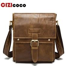 цены Men's Bag Genuine Leather Crossbody Bags For Men Ipad Flap Hasp Messenger Bag Men Leather Shoulder Bags Male Handbags