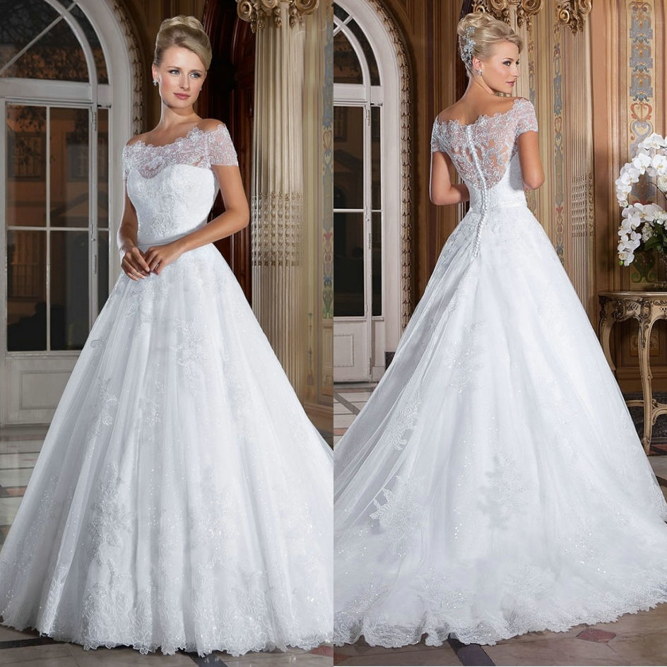 off white wedding dresses 2016 new the shoulder gown wedding dress lace 6226
