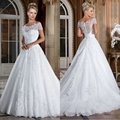 2016 New Off the Shoulder Ball Gown Wedding Dress Lace White Bridal Gowns Wedding With Short Sleeve Vestido Novias Renda