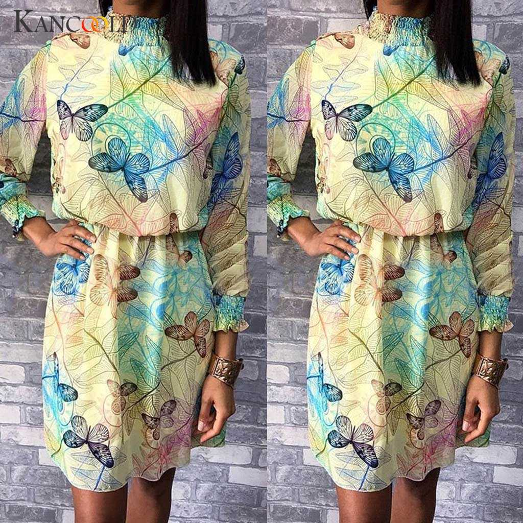 KANCOOLD Платье женское тонкое шифоновое Fanshion летнее платье с бабочкой с градиентным принтом эластичное водолазка новое платье женское 2019MAY28