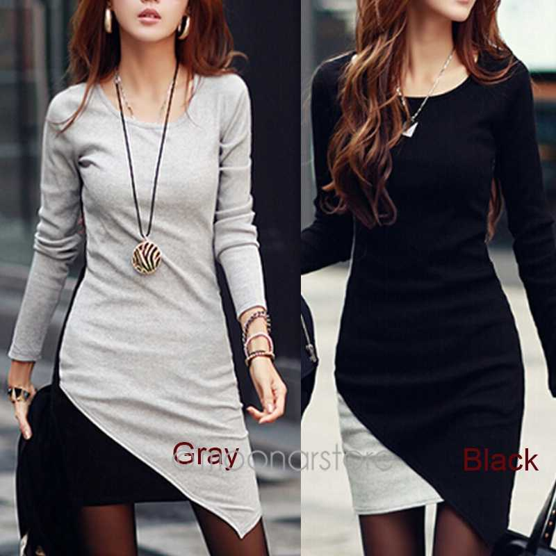 ... Mini Tricot Women Dress Round Neck Korean Clothes Slim Dresses Bodycon  Cotton Knitted Winter Dress 2018 61df609151de