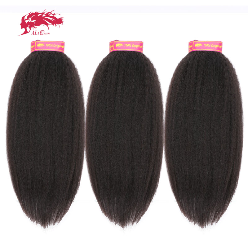 Ali Queen cheveux produits 3 pièces Lot crépus cheveux raides humains vierge Extension de cheveux 14-24 pouces cheveux brésiliens armure faisceaux