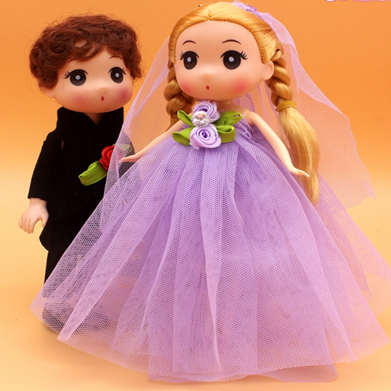 5pairs  free shipping Cartoon Doll 18cm Lovers Wedding Dress Butterfly Doll Toys Small Girl Bag Pendant Wedding Party Best Gifts best girl toys 2017