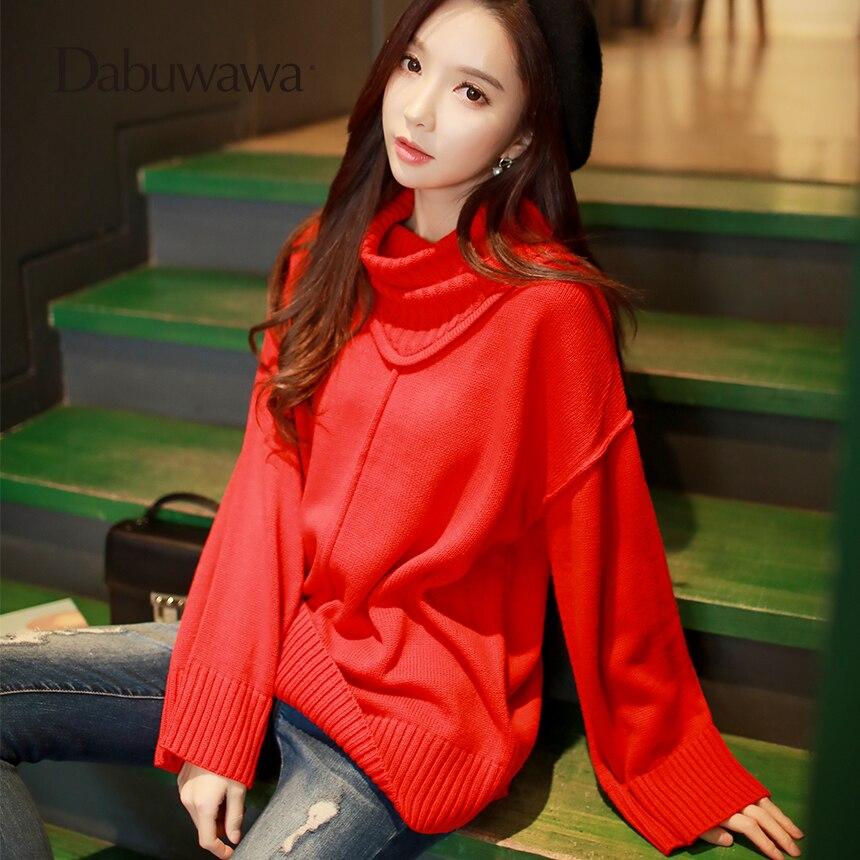 Dabuwawa New Women Ladies Elegant Red Turtleneck Sweater Pullovers Long Sleeve Vintage Loose Sweater Tops D18AKT008
