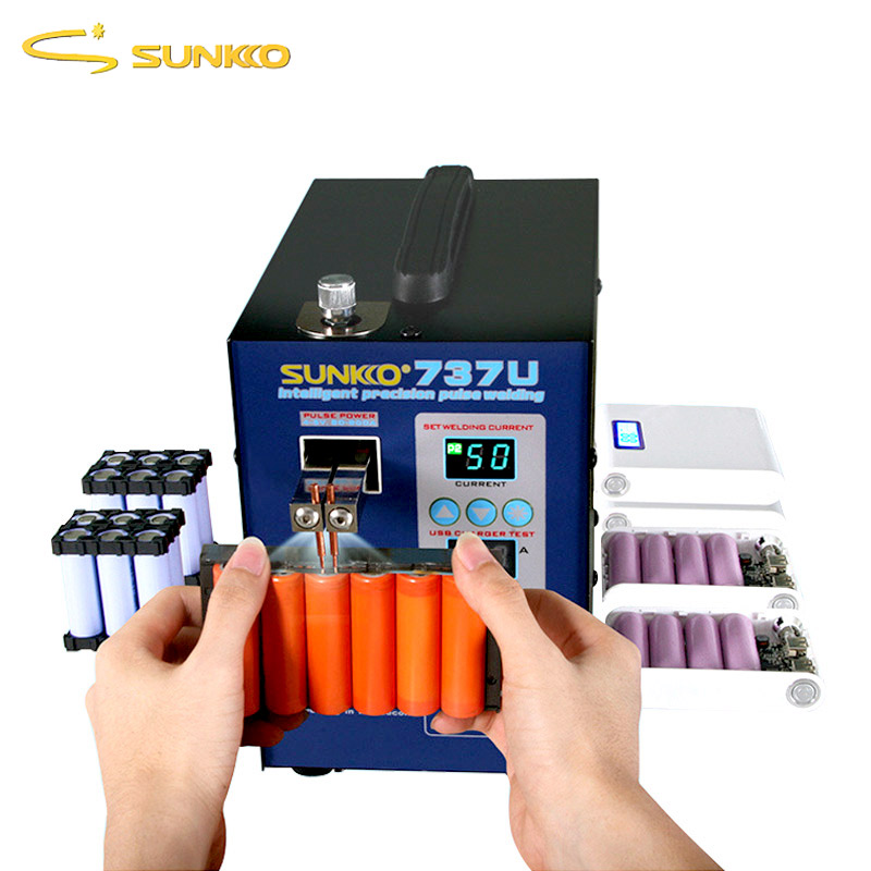 NEW SUNKKO 737U Spot Welder Machine 2.8KW Double Pulse Battery Spot Welding Machine USB Charging Test 18650 Battery Pack Welder