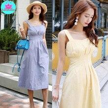 2019 summer Korean version of the self-cultivation temperament waist  fashion small fresh dress female