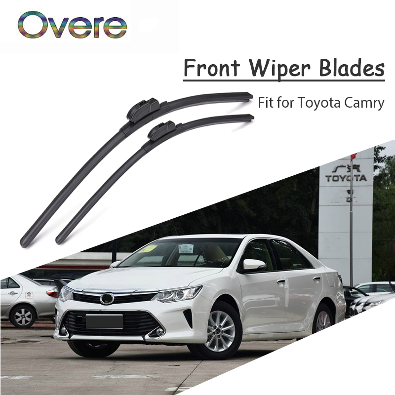 Overe 1Set Rubber Car Front Wiper Blade Kit For Toyota Camry 2017 2016 2015 2014 2013-2001 Windscreen Original Accessories