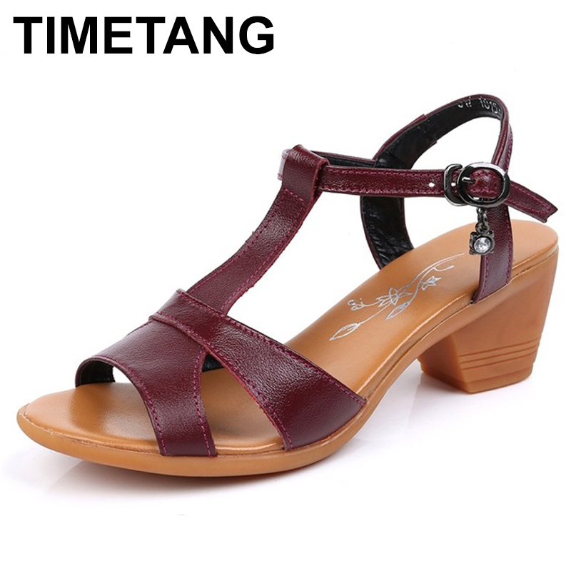 TIMETANG  2018 New Genuine Leather High Heels Gladiator Sandals Women Summer Open Toe Ladies Shoes Plus Size 34-43TIMETANG  2018 New Genuine Leather High Heels Gladiator Sandals Women Summer Open Toe Ladies Shoes Plus Size 34-43