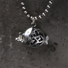 999 Sterling Silver Antique 3D Hollow Fish Charms Pendants DIY Jewelry Findings 18*21MM