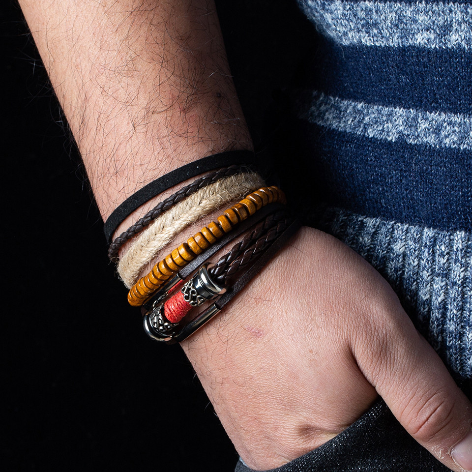 Mens Brown Braided Leather Bracelet