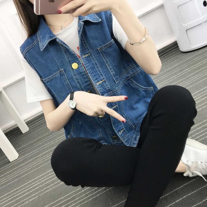 Весенний ретро джинсовый жилет тонкий Свободный дикий большой размер 5XL большой женский синий отложной воротник женский карманы Украшение жилет MZ3317