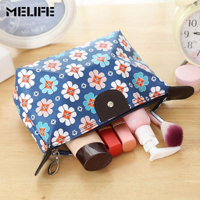 MELIFE Waterproof Makeup Bags Cosmetics Pouchs Travel Ladies Pouch Women Cosmetic Bag Female Zipper Portable Fashion Make Up цена и фото