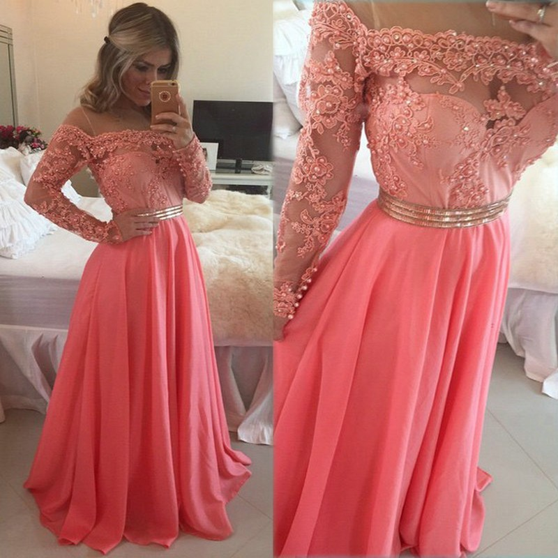 Popular Peach Lace Prom Dress-Buy Cheap Peach Lace Prom Dress lots ...