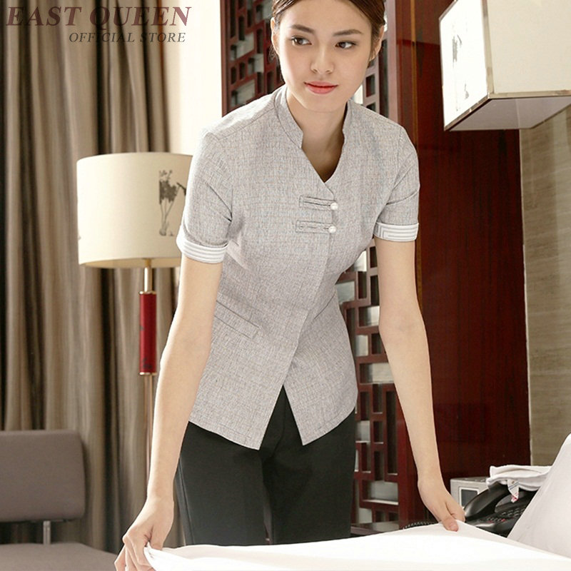 Housekeeping Cleaning Services Uniforms Hotel Accessories Women Maid Waitress Room Service Uniform Shirt  DD909