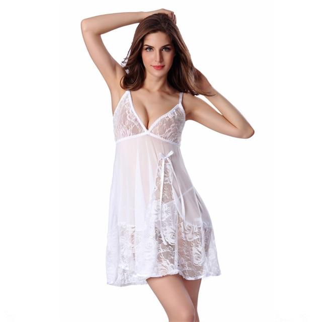 690ed928e Novas Mulheres Sexy Sleepwear Rendas Camisola Vestido + String Night Dress  Babydoll Vestido Lingerie Feminina Camisola