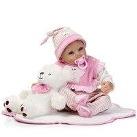 55 cm levensechte siliconen reborn babypop speelgoed met magneet fopspeen, Speelhuis knuffel meisjes brinquedos roze prinses doll