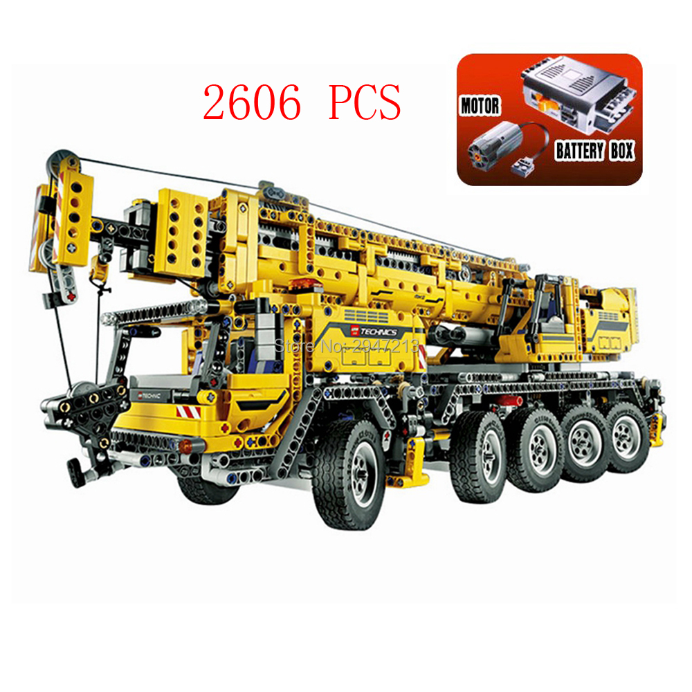 LegoINGlys technic Creativo elettrico gru Mobile MKII Blocchi di Costruzione 42009 veicoli di Ingegneria modello di mattoni giocattoli per i bambini