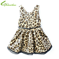 Girls Princess Leopard Dresses for Spring Autumn Fashion Cotton Clothing Children Sleeveless Mini Dress with Belt Drop Free Ship
