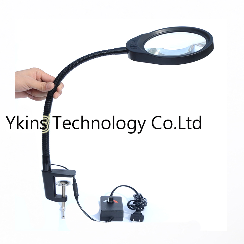 Table Magnifier 3X 5X 8X 10X 600MM Clip-on Desk Magnifying Glass with LED Lamp Lupa Loupe for Reading Watch PCB Repair все цены