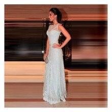 Elegnat A-line Boot-Ausschnitt Sheer Lace Back Prom Kleid mit Kristall Himmel blau Spitze lange Abendkleid Vestidos De Noche