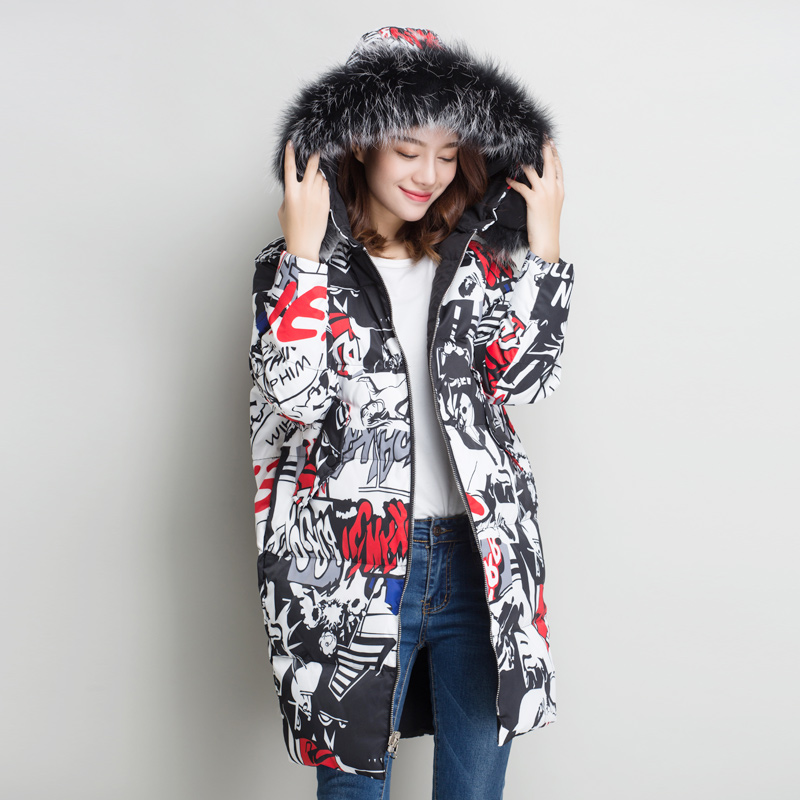 Natural Raccoon Large Fur Collar   Down   Jacket Women 2019 Fashion Double-sided Wear Hooded Long   Down   Parka Female Winter   Down     Coat