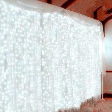 300 Светодиодов Фея Строка Сосулька Светодиодный занавес светильник 300 Лампы Рождественский Свадебный сад вечерние Декор 220V 3 м* 3 м 12strands-White