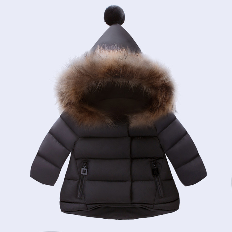 Unisex Kids Winter Thick Warm Jacket Coat Black Fashion Baby Boys Girls Fur Hooded Jackets Clothing Girls Outdoor Parka Coats 2017 boys winter jackets coats fashion hooded warm winter jacket for boys kids cotton outerwears coats for 10degree boys parkas