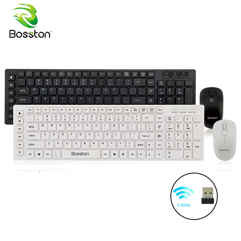 цена Bosston Wireless Keyboard and Mouse Set 2.4GHz with USB 2.0 Nano Receiver Ultra Thin English Keyboards for PC Laptop