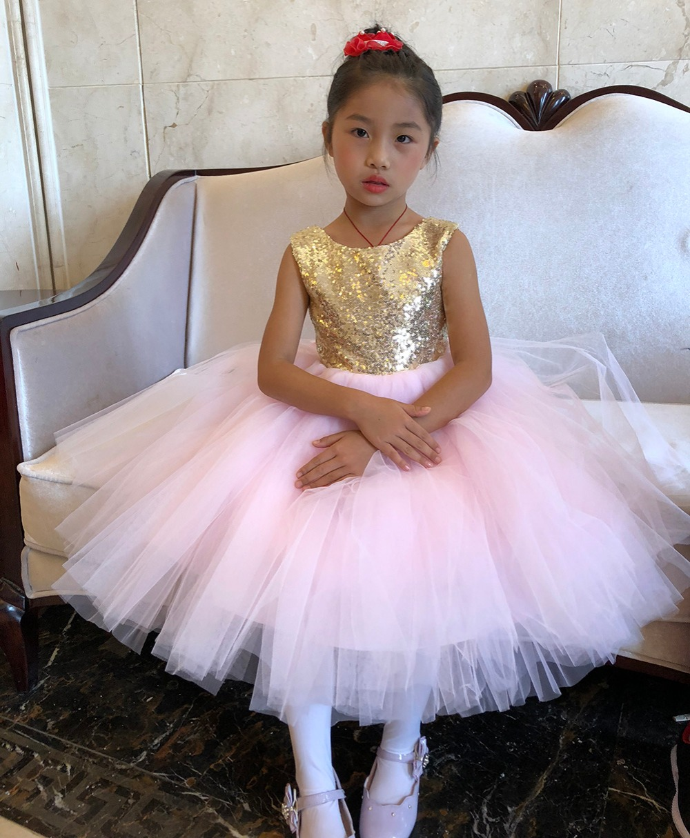 Pink Teen Wedding Dress Sequin Knee Length O-neck Paillette Girls Sequin Dress for Girls Sequin Evening Dress Tutu with Bowknot (3)