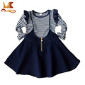 Monkids 2016 Novelty Style Princess Girls Skirts Baby Suit Girls Clothing Sets Striped T-shirt+Cowboy Suspenders Skirt Girls