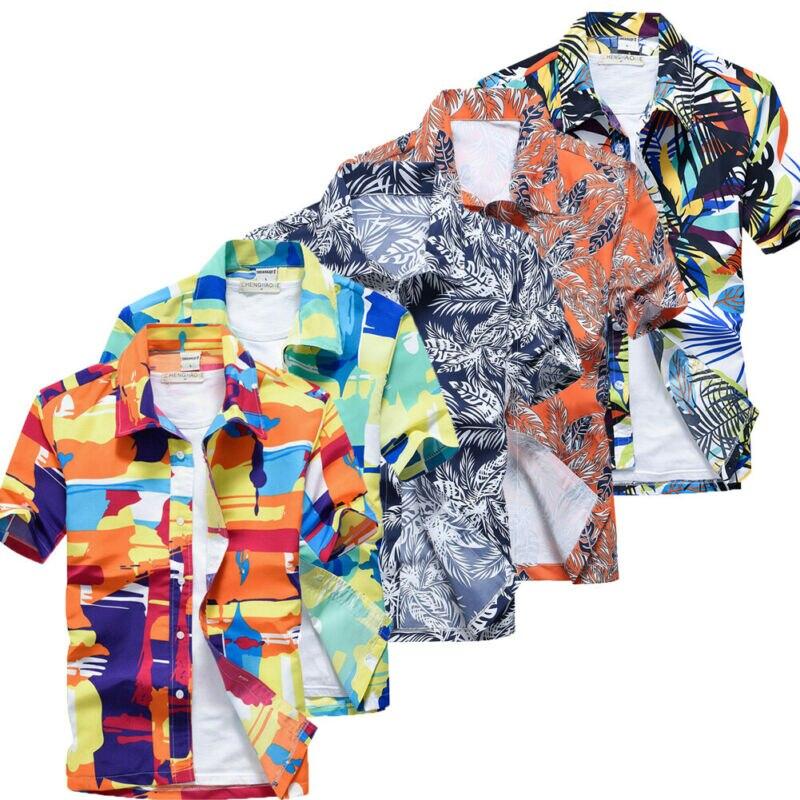 US New Hawaiian Shirt Mens Flower Beach Aloha Party Casual Holiday Short Sleeve