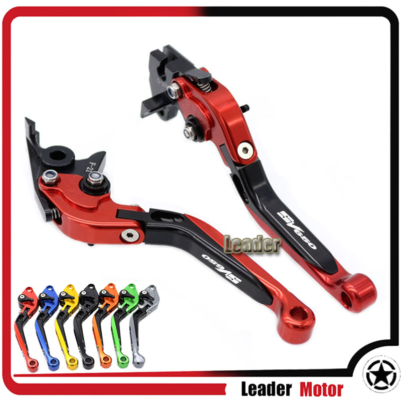 For SUZUKI SV650 SV650S SV 650 SV 650S 1999-2009 Motorcycle Accessories Folding Extendable Brake Clutch Levers Red LOGO SV650 cnc brake clutch levers for suzuki sv650s sv1000s 03 13 sv 650s sv 1000s sv650 s 1000 03 04 05 06 07 extendable foldable lever