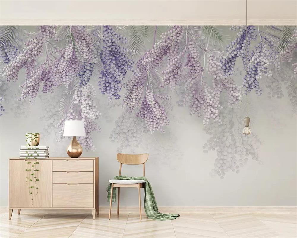 Купить с кэшбэком beibehang Customized 2019 new fashion small fresh lavender fruit 3d stereo TV background wallpaper papel de parede papier peint