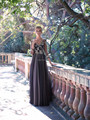 Free Shipping 2014 Sheer Three Quarter Sleeve Beaded Brown Chiffon Mother Of The Bride Lace Dresses