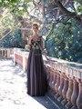 Frete grátis 2014 Sheer manga três quartos frisada Brown Chiffon mãe da noiva vestidos