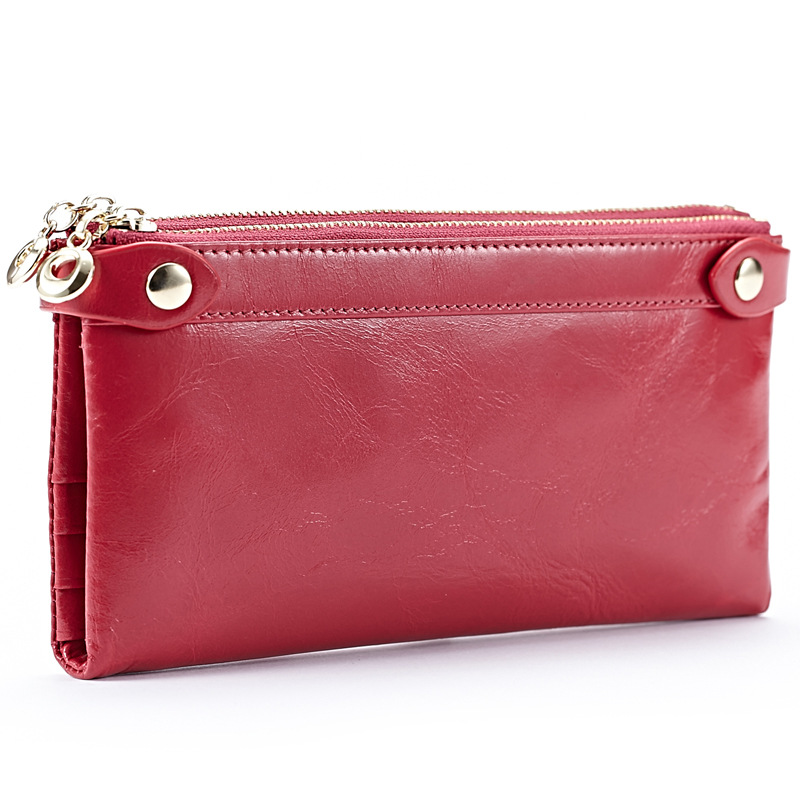 Premium Genuine Oil Waxing Leather Double Zipper Women Wallets Hot Vintage Large Capacity Zipper Purses Multi-Card Bit Wallet