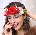 Frete Grátis Beleza Noiva Headband Da Flor Hairband menina Headwear Acessório de Cabelo Floral para As Mulheres