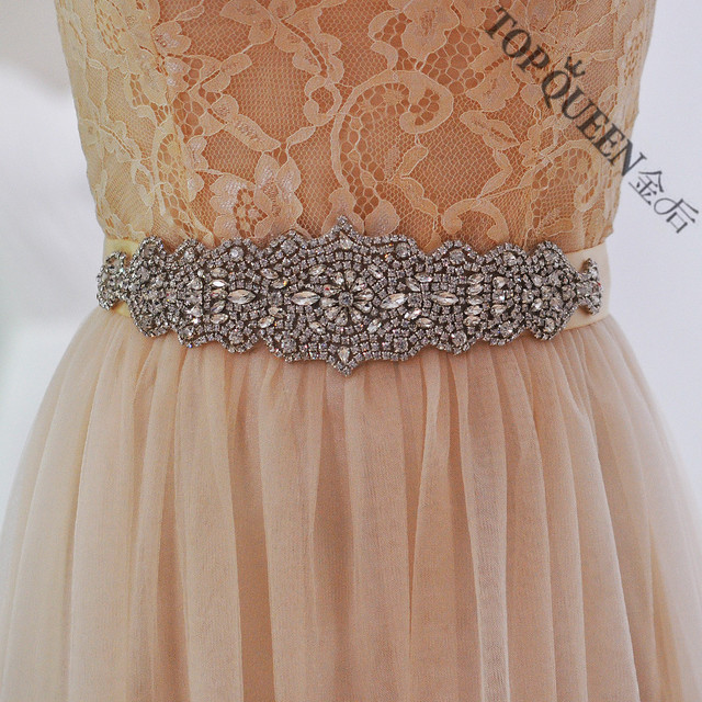TOPQUEEN women's S233 Rhinestones Pearls Wedding evening dress sash Belts Bridal bride Belt Sashes for the party