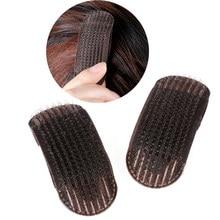 2 pçs respirável franja tapete grampos de cabelo preto café princesa ferramenta de cabelo conjunto bump-lo acima volume base inserções de cabelo invisível pinos de cabelo